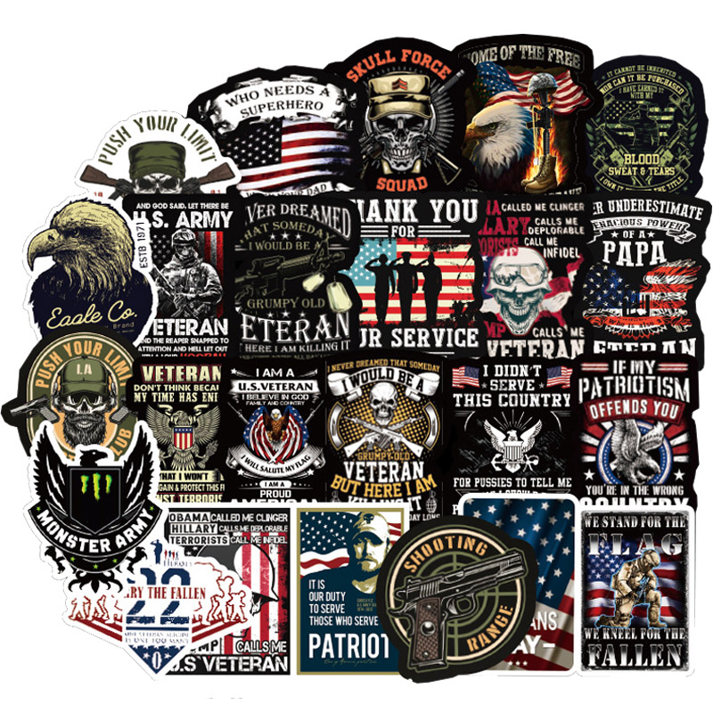 50 PCS Pack US Special Forces Sticker Cool For On Motorcycle Skateboard Hydro Fask Laptop Suitcase Waterproof Stickers