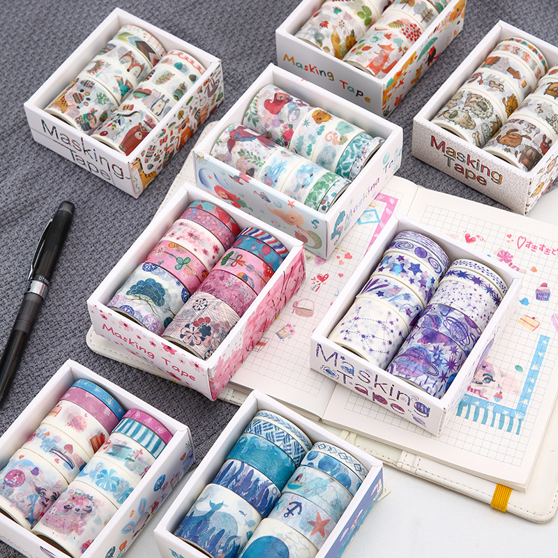 8pcs Cartoon Drawing Paper Washi Tape Set Puppy Whale Zoo Forest Animal Mermaid Flower Adhesive Masking Tapes Stickers DIY A6314