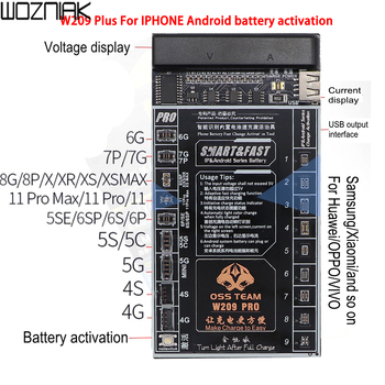 W209 Pro 2 IN 1 Battery Activation board for iPhone 4-8 Xs Xsmax XR 11 Pro Promax Samsung Xiaomi Circuit Board Charging Tester