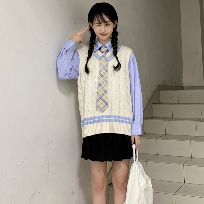 Polo Shirt Long Sleeve Tie Shirt Women's College Style Japanese-style Students Two-Piece Women's