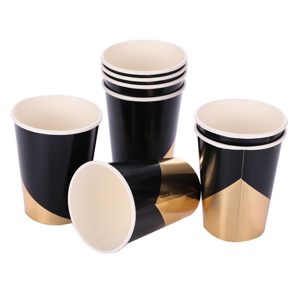 Одноразовая Золотая штамповка Черная бумажная посуда тарелки& чашки& полотенца одноразовые - Цвет: 8 cups