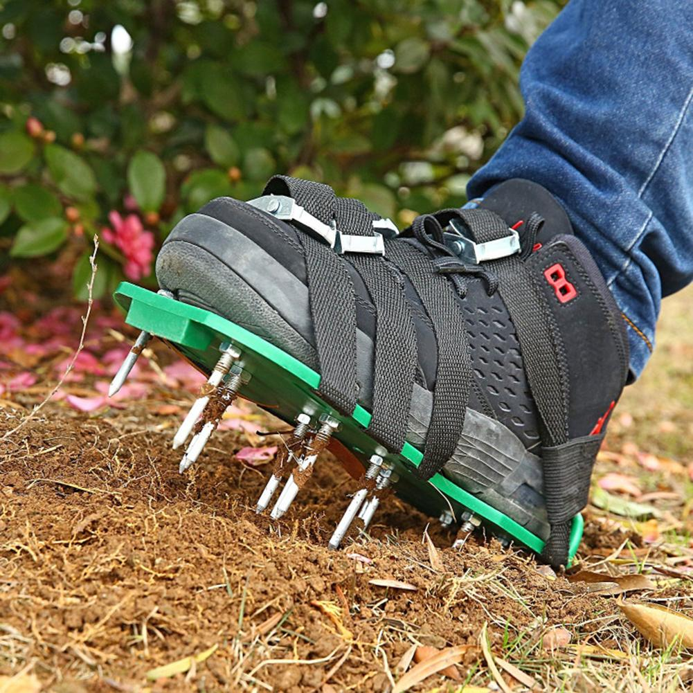 Garden Lawn Aerator Shoes New arrival with shoelace Garden Yard Grass Cultivator Scarification Spiked Tool Loose soil shoes