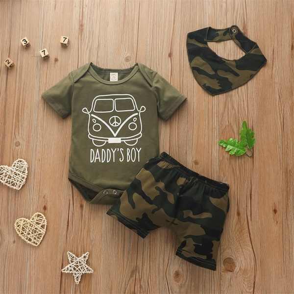 3pcs Newborn Baby Boy Top Romper Bodysuit Jumpsuit Pants Camo Outfit Clothes Set