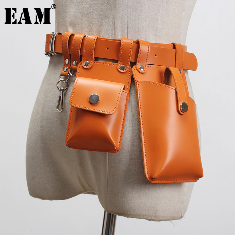 [EAM]  Pu Leather Orange Buckle Mini-bag Split Joint Long Belt Personality Women New Fashion Tide All-match Spring 2020 1S919
