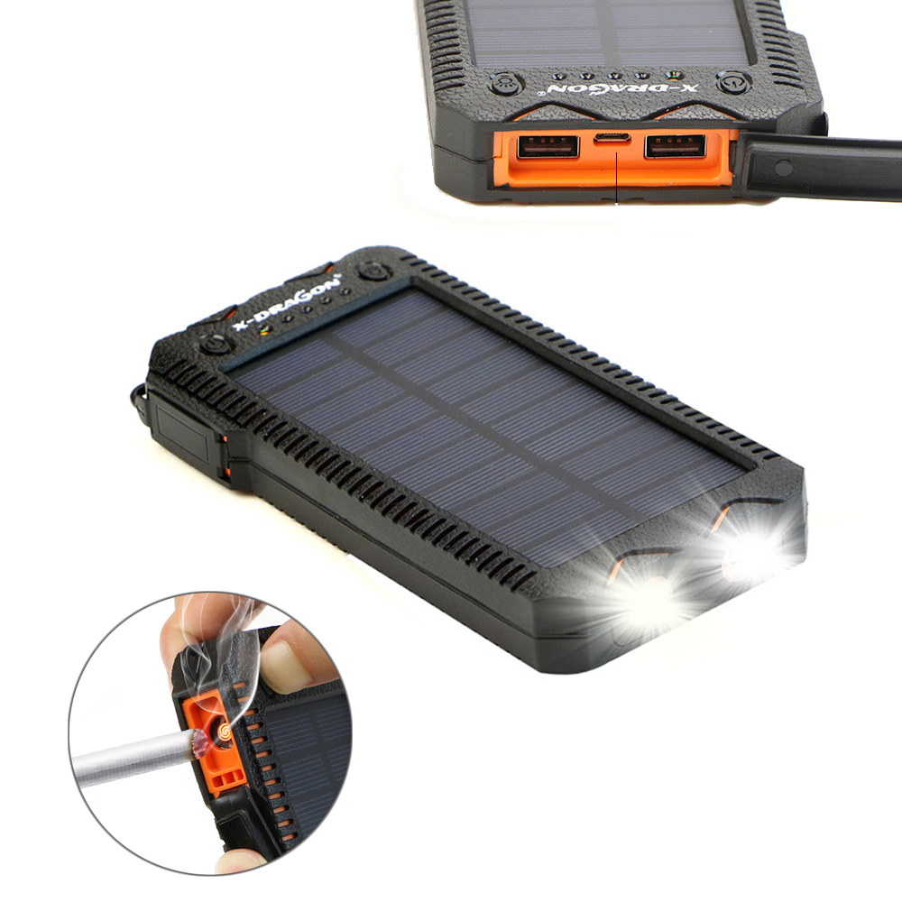 Rugged <font><b>Power</b></font> <font><b>Bank</b></font> Waterproof IPX5 Solar External Battery Charger Powerbank for Huawei P20 30 Mate 20 <font><b>Xiaomi</b></font> MI Red MIX iPhone. image