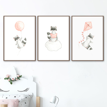 Raccoon Kite Balloon Book Cloud Cartoon Wall Art Canvas Painting Nordic Posters And Prints Pictures Baby Kids Room Decor