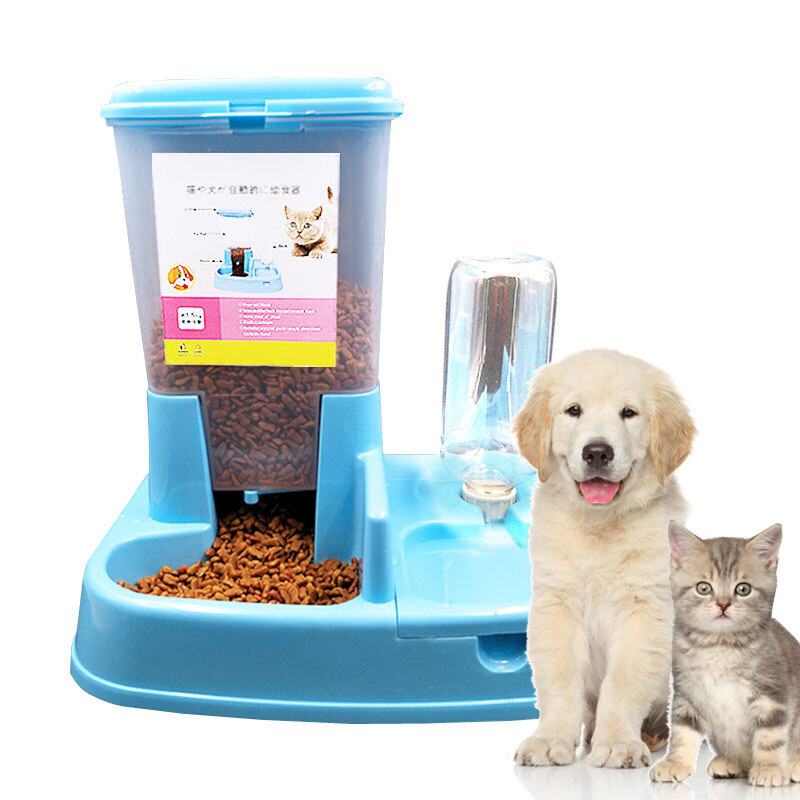 Dog-Bowl Pet-Feeder Dog-Cat-Supplies Drinking-Water Automatic Double Blue