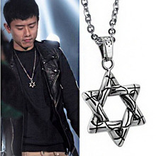 Korean version titanium steel pendant Liumangxing Necklace mens hip-hop Street personality accessories