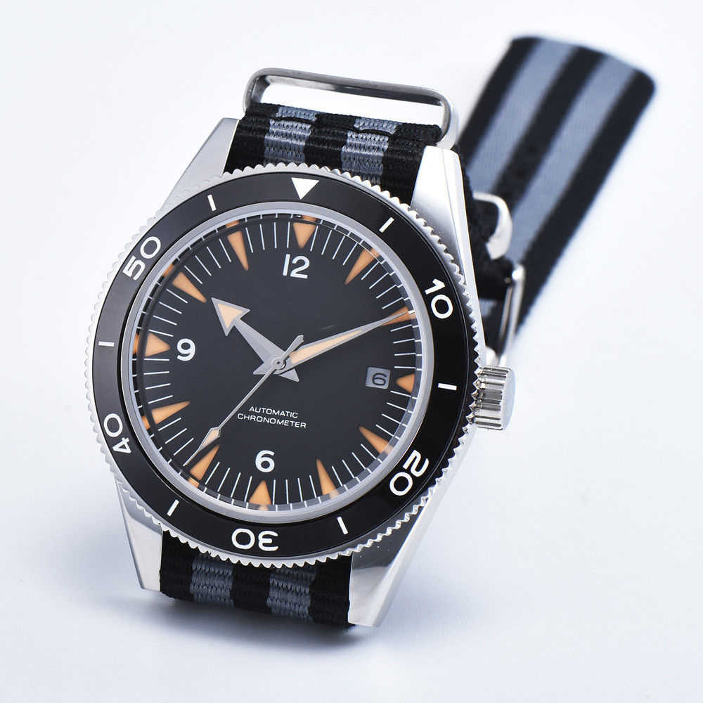 Corgeut 41mm Sterile black dial Orange Mark Sapphire Crystal Blue Ceramic Bezel Mens Seagull Automatic Watch.