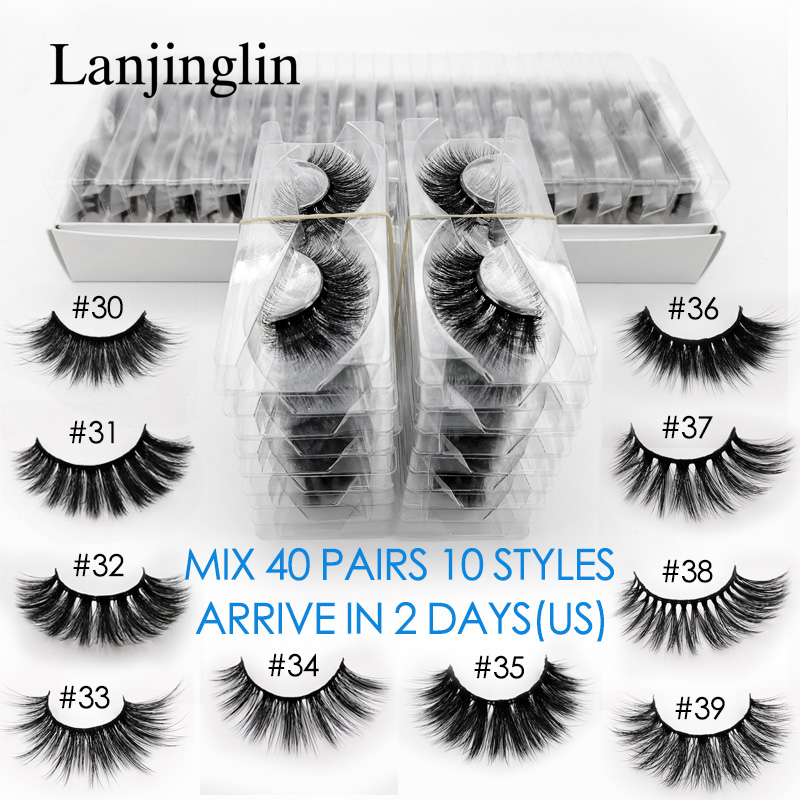 LANJINGLIN 20/30/40 Pairs Faux Mink Eyelash Wholesale Bulk Natural Long False Eyelashes Fluffy Soft 3d Lashes Cilios Make Up