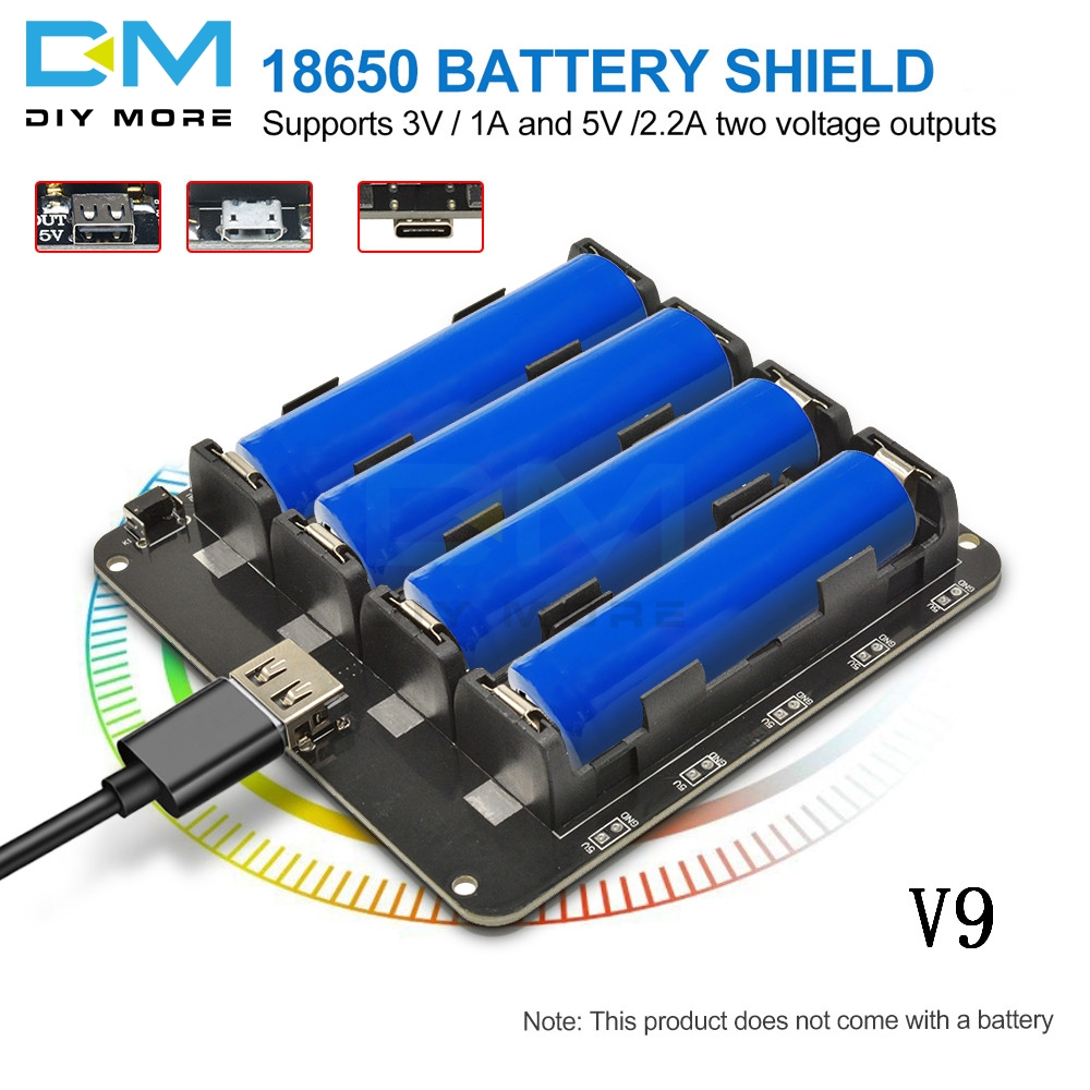 Four 18650 Lithium Battery Shield V9 Mobile Power band Micro/Type-C USB Expansion Board Module 5V/3A 3V/1A For Arduino ESP8266