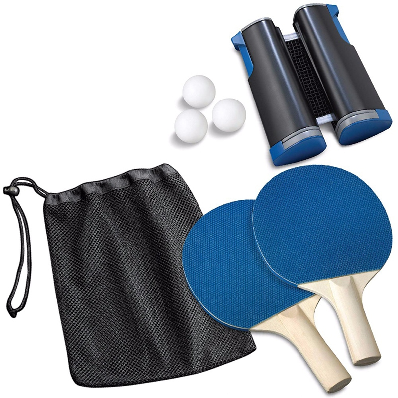 Table Tennis Sports Trainning Set Racket Blade Mesh Net Ping Pong Student Sports Equipment With 1 Pair Of Bat 3 Balls And Mesh N