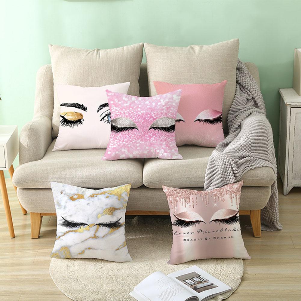 45X45cm Fashion Glitter Eyelash Lipstick Pillow Case Breathable Pillow Case Polyester Zipper Pillow Cover Bedroom Bedding Sets