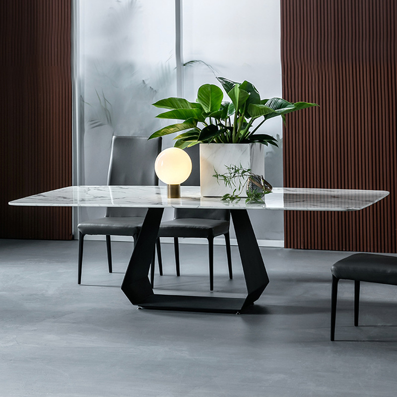 2019 Small Department Modern Recetanger Marble Dining Table Set Furniture
