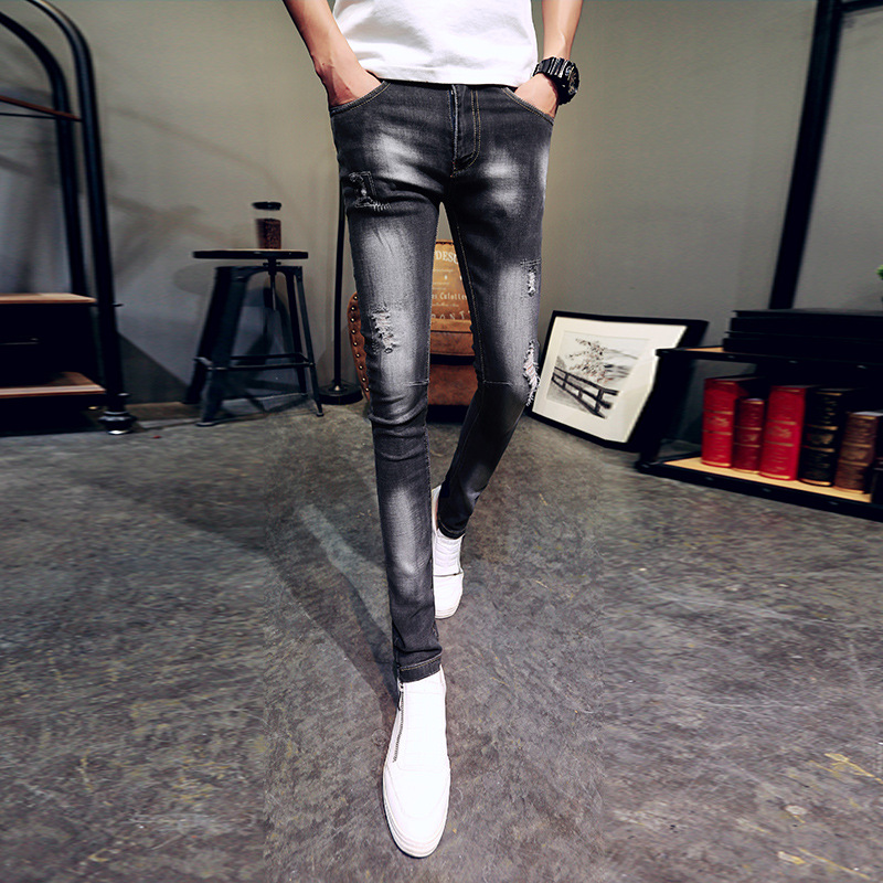 Men Slim Fit Jeans Lively Social Tight Fella Pants Men's Korean-style Trend Skinny Scraping Rotten Summer 2017