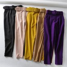 Pantalones elegantes para mujer, negros, con bolsillos y cremallera, color liso, de calle, 9 colores, 2020