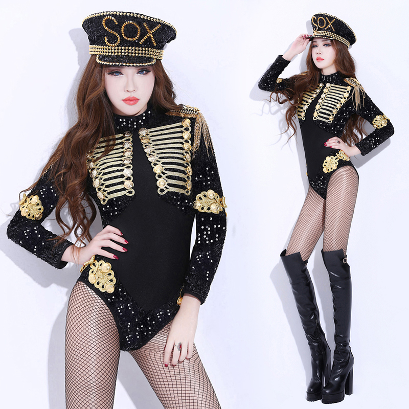 New Europe America Nightclub Baroque Costume Fashion Ladies Perspective Sequined Sparkly Bodysuit  Sexy Women Black Fancy Outfit
