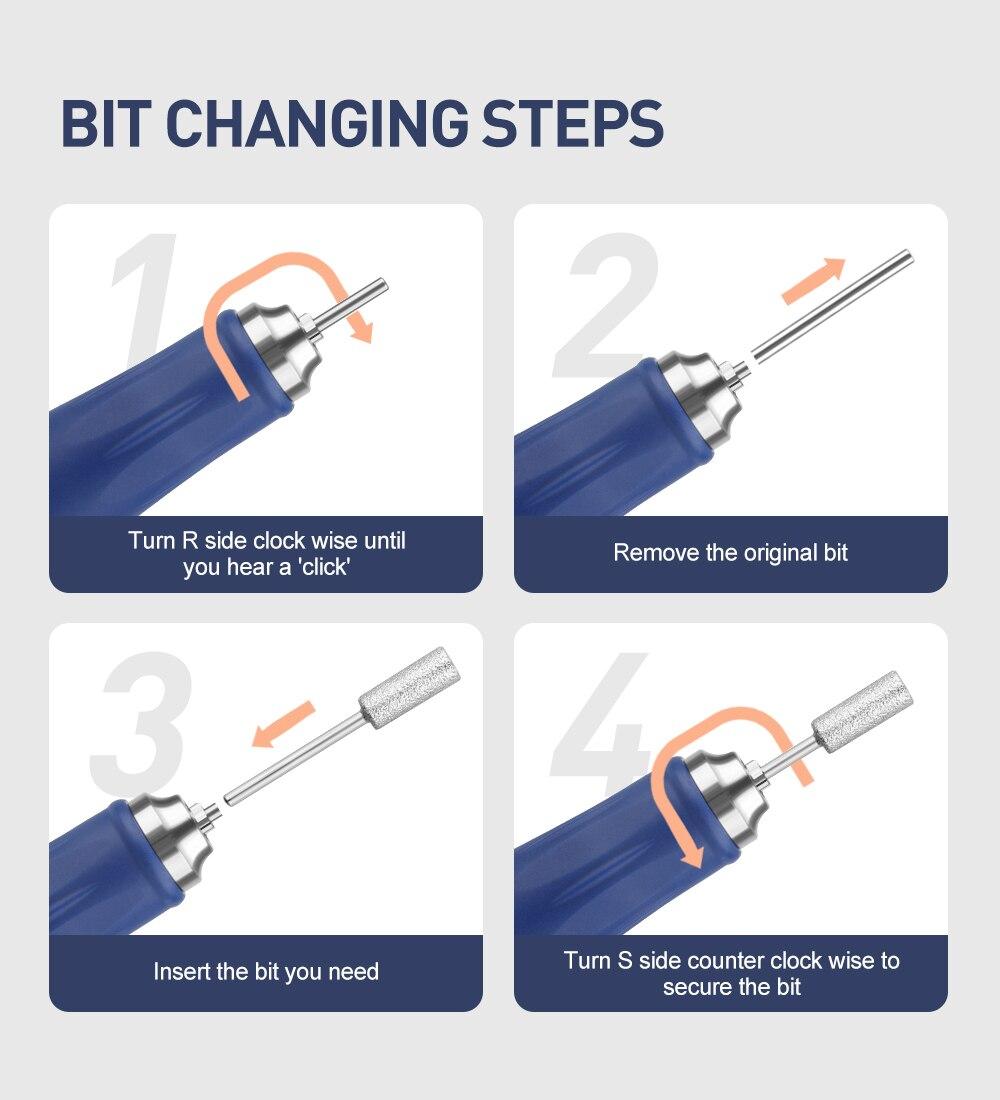 manicure elétrica conjunto de broca de unhas