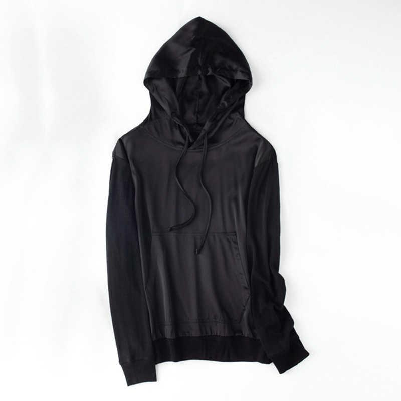Hoodies Vrouwen Sweater Pure Zijde Merino Wol Zwart Trui Losse Bluzy Hoddies Met Hoed Hoody Hodies Streetwear