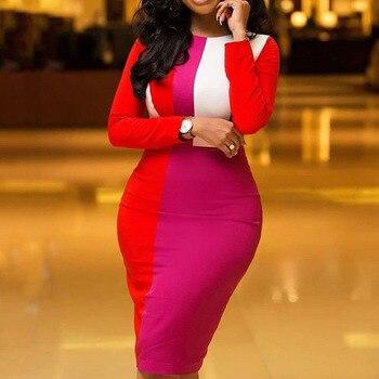 Bodycon Dress Women Stripe Color 2020