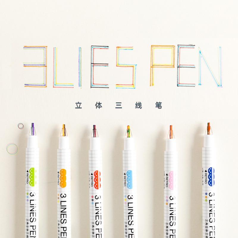 3pcs/box 3 Line Marker Pen Set Kawaii Planner Color Gel Pen For School Office Journal Art Pens Drawing Stationery Supplies