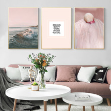 Flamingo Canvas Painting Landscape Beach Wall Paintings For Bedrooms Picture Scandinavian Poster Living Room