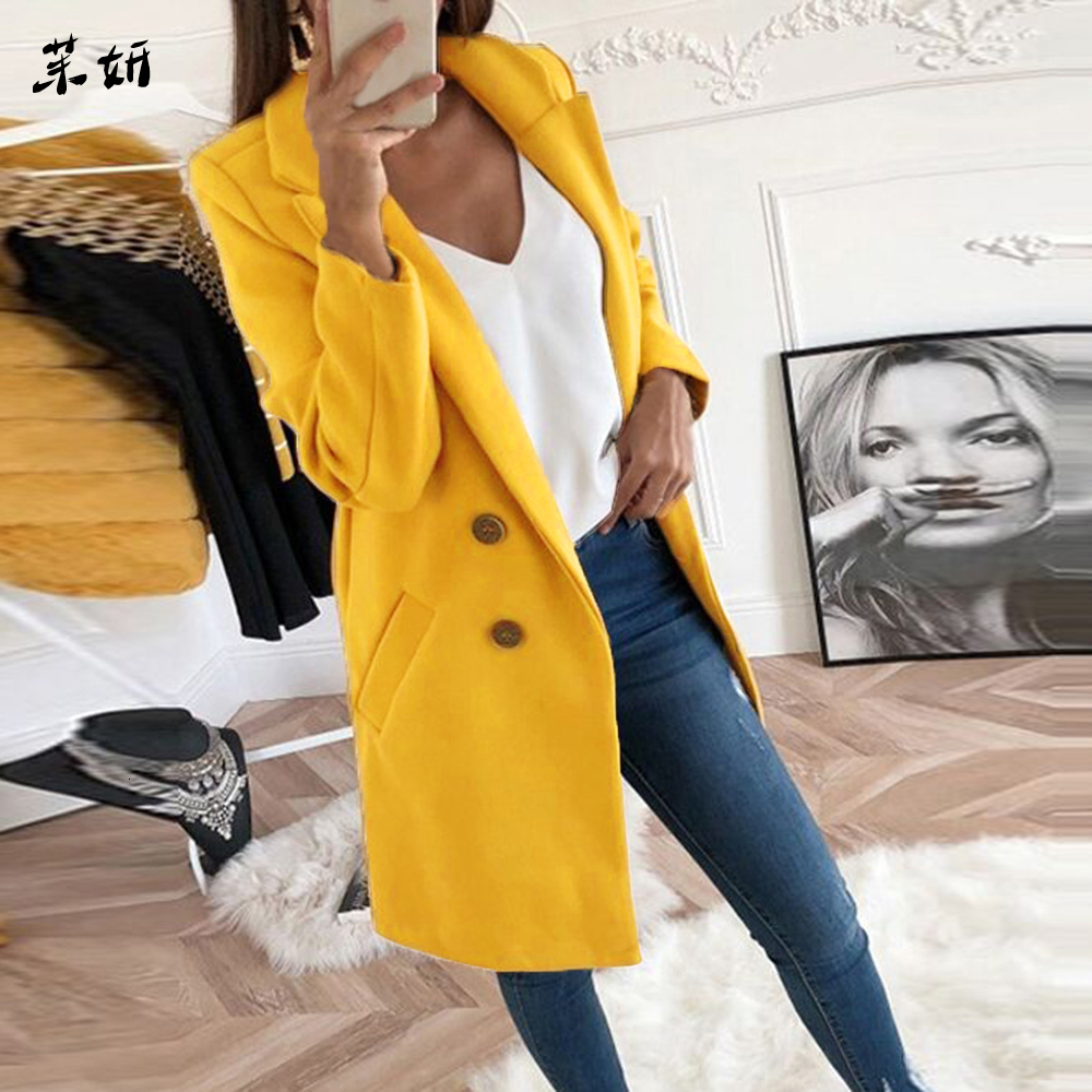 Autumn Slim Thin Jacket Ladies Mujer Fashion New Women Long Fleece Blend Coat 2019 Turn-down Collar Coat Solid Casaco Feminino