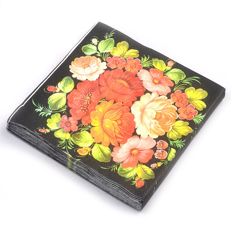 Rich Flowers Color Printed Napkin Paper Placemat Hotel Banquet Paper 20 Wood Pulp Paper Disposable Napkin
