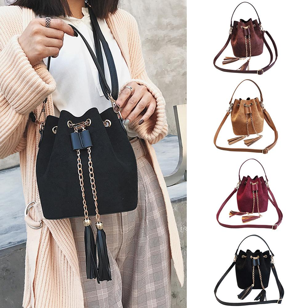 High Quality Women Suede Shoulder Bag Tassel Chain Bucket Bags For Ladies Girls Crossbody Bags Sac A Main Femme Fashion Handbag