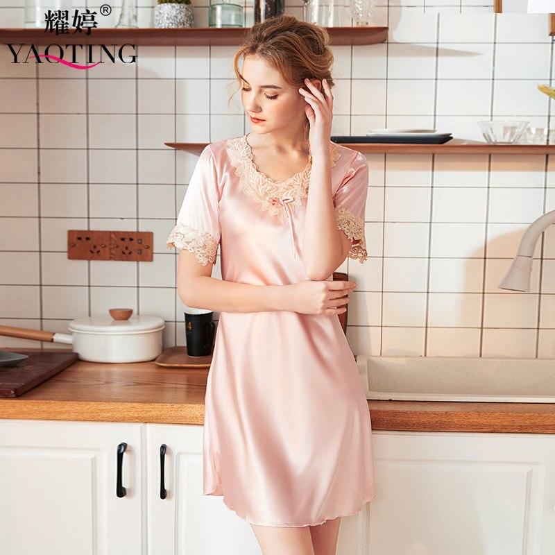 YAO TING 2019 Women Leisure Home Wear Bud Silk Nightgown Summer Autumn Sleep Wear Silk Cloth Sexy Nightgown Short Nightskirt