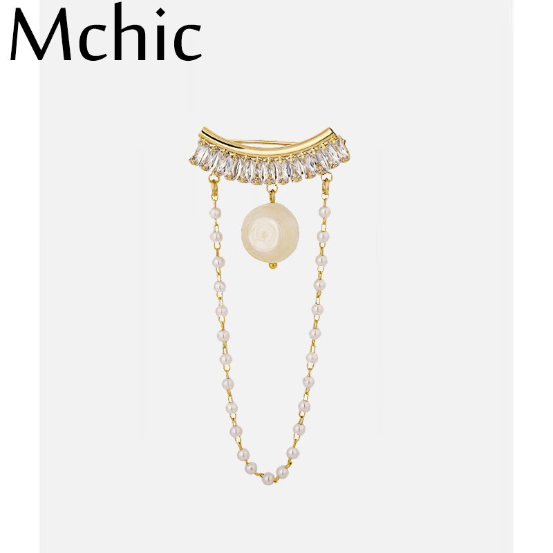 Mchic Fashion CZ Natural Pearl Brooches Pin Elegant Copper Zircon Chain Hanging Brooch for Women Clothing Gift Accessories
