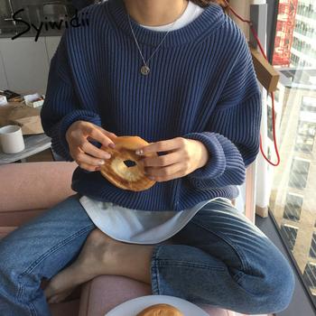 Syiwidii swetry damskie Oversize Vintage swetry zagęścić jesień zima 2021 koreański z długimi rękawami O-Neck dzianiny Harajuku bluzy tanie i dobre opinie Stałe REGULAR Wiskoza Z okrągłym kołnierzykiem CN (pochodzenie) NONE Pełne Rękaw w kształcie skrzydła nietoperza