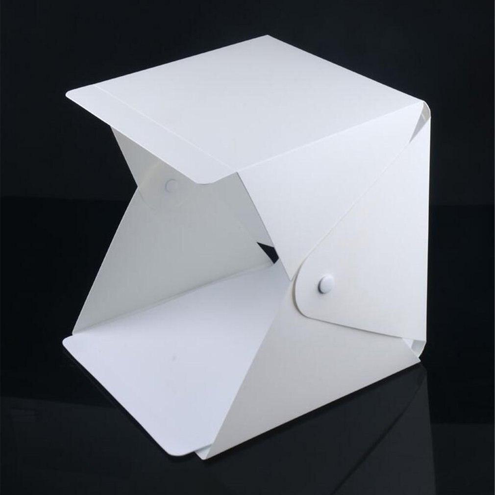 Tüketici Elektroniği'ten Masa Üstü Çekim'de Mini katlanır Lightbox fotoğrafçılık fotoğraf stüdyosu Softbox led ışık yumuşak kutu fotoğraf arka plan kiti ışık kutusu DSLR kamera için dropship title=