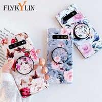 FLYKYLIN Rose Blume Fall Für Samsung Galaxy S10 S10e S9 S8 Plus Zurück Abdeckung auf A40 A50 A70 Silicon Telefon coque mit Halter Stehen