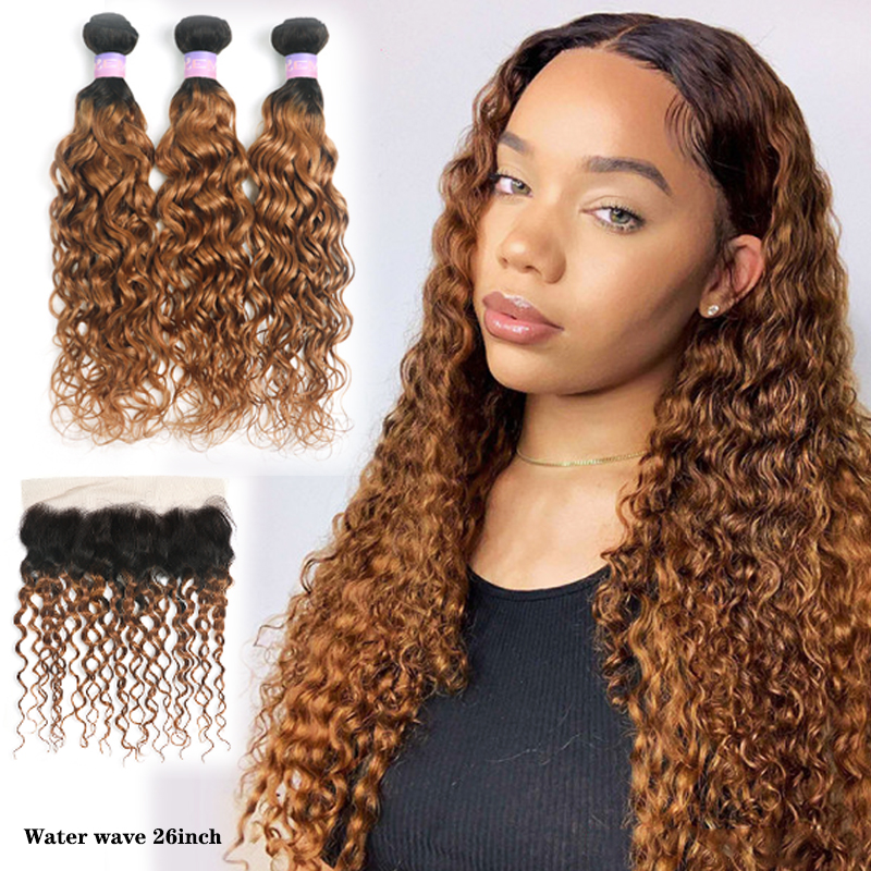 1B/30 Water Wave Human Hair Bundles With Frontal 13x4 Brazilian Ombre Brown Hair Weave Bundles With Closure Non-Remy KEMY HAIR