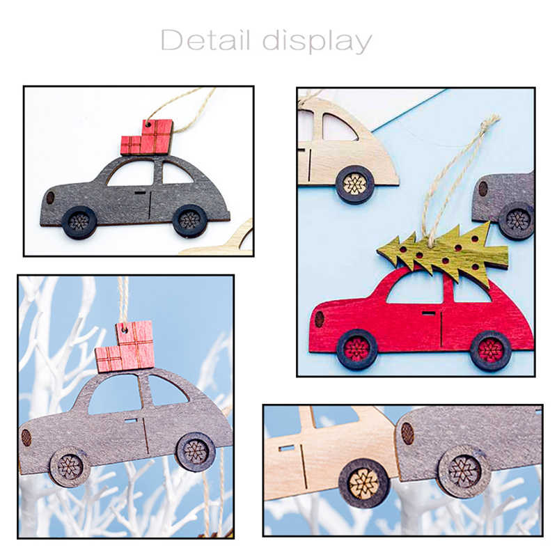 خشبية رسمت سيارة صغيرة عيد الميلاد قلادة الإبداعية شجرة عيد الميلاد قطرة الحلي نافذة عرض عيد الميلاد ديكور حفلات الاطفال هدية لعبة