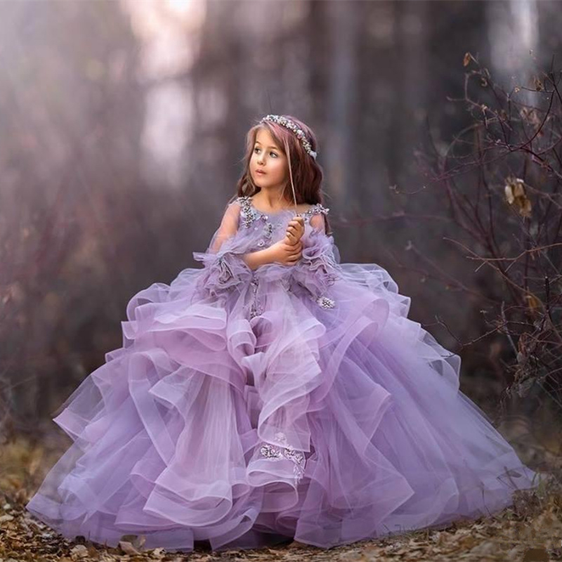 Purple Little Girls Ball Gown Kids Puffy Organza Formal Birthday Dress Party Elegant Tulle Lace Flower Girl Pageant Dresses