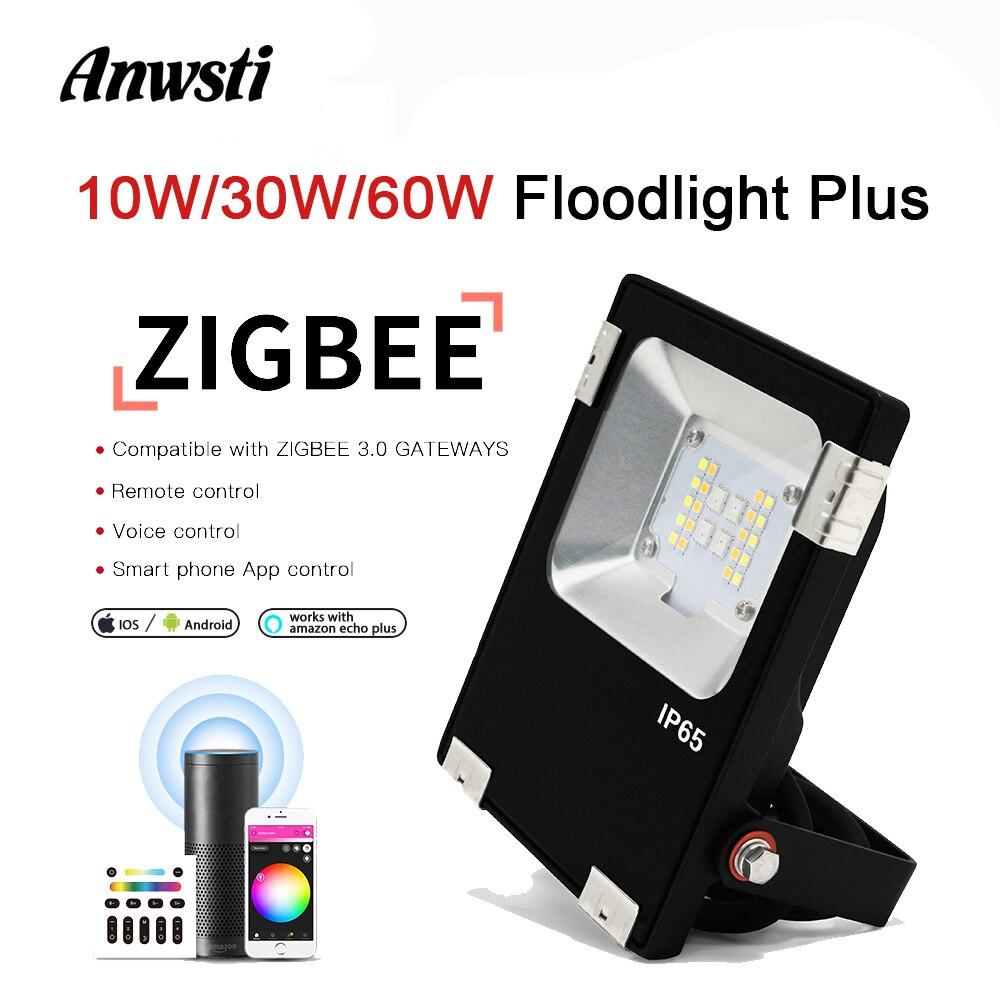 Gledopto Zigbee RGBWW LED Floodlight 10W 30W 60W Smart Outdoor IP65 Waterproof Flood Light Work With Amazon Echo Plus SmartThing