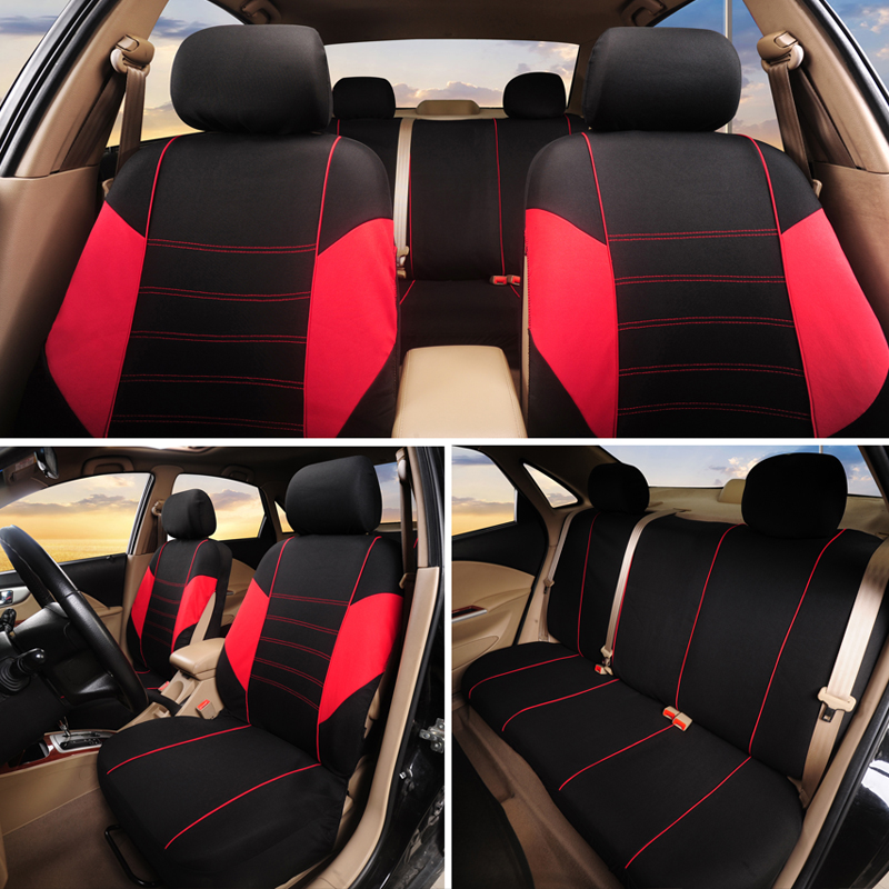 Polyester Car Auto Seat Covers W//4 HeadRest Covers Brand New Grey//Black Suede