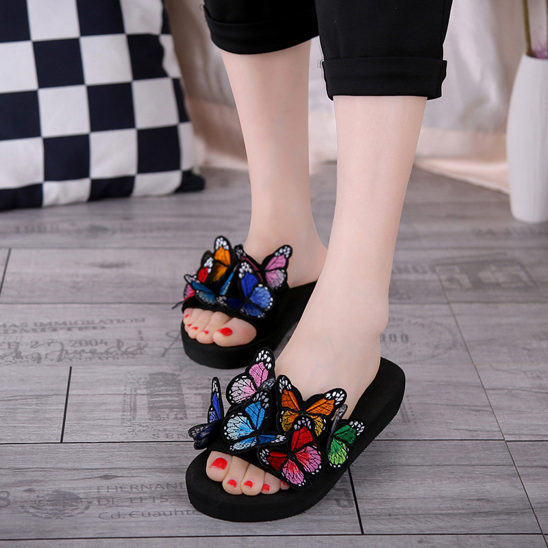 Women Bow Slippers Summer Bohemian Sandals 3D Butterfly Shoes Female Casual Outdoor Flat Non-slip Beach Slippers Slides