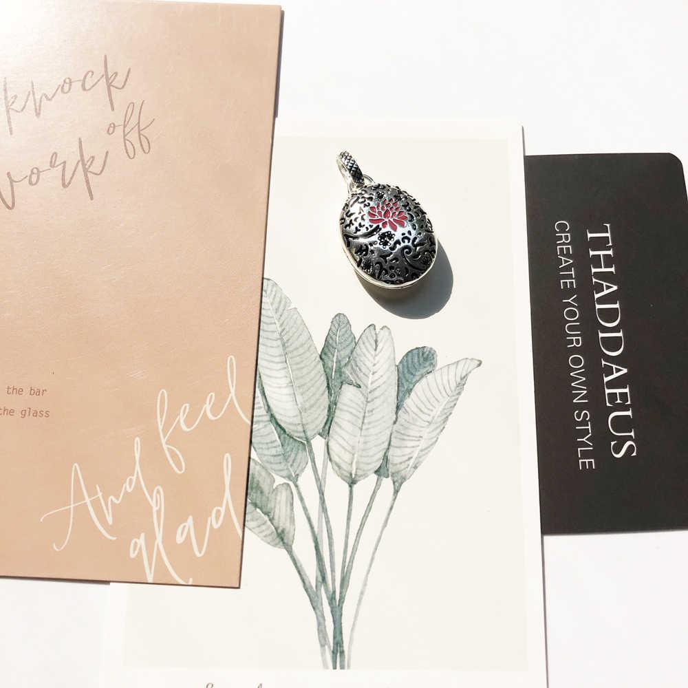 จี้รูปไข่สีแดงดอกไม้ Locket, 2019 แฟชั่น Glam เงิน 925 เครื่องประดับ Thomas Sterling สร้อยคอของขวัญโรแมนติก Ts Soul ผู้หญิง