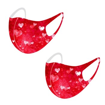 2PC Valentine's Day mascarilla españa маска на рот Adult Washable Reuse Breathable Windproof Foggy Haze Mask lot mask fabric was image