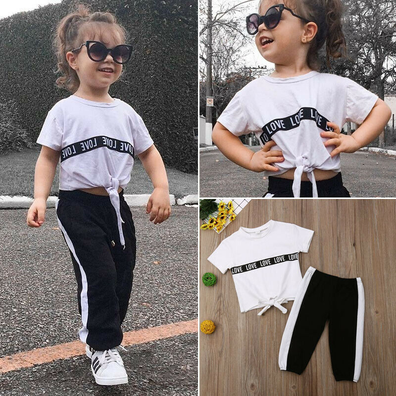 2pcs Kid Baby Girls Clothes Tracksuit Top T Shirt  Pants Outfits Set Casual Set