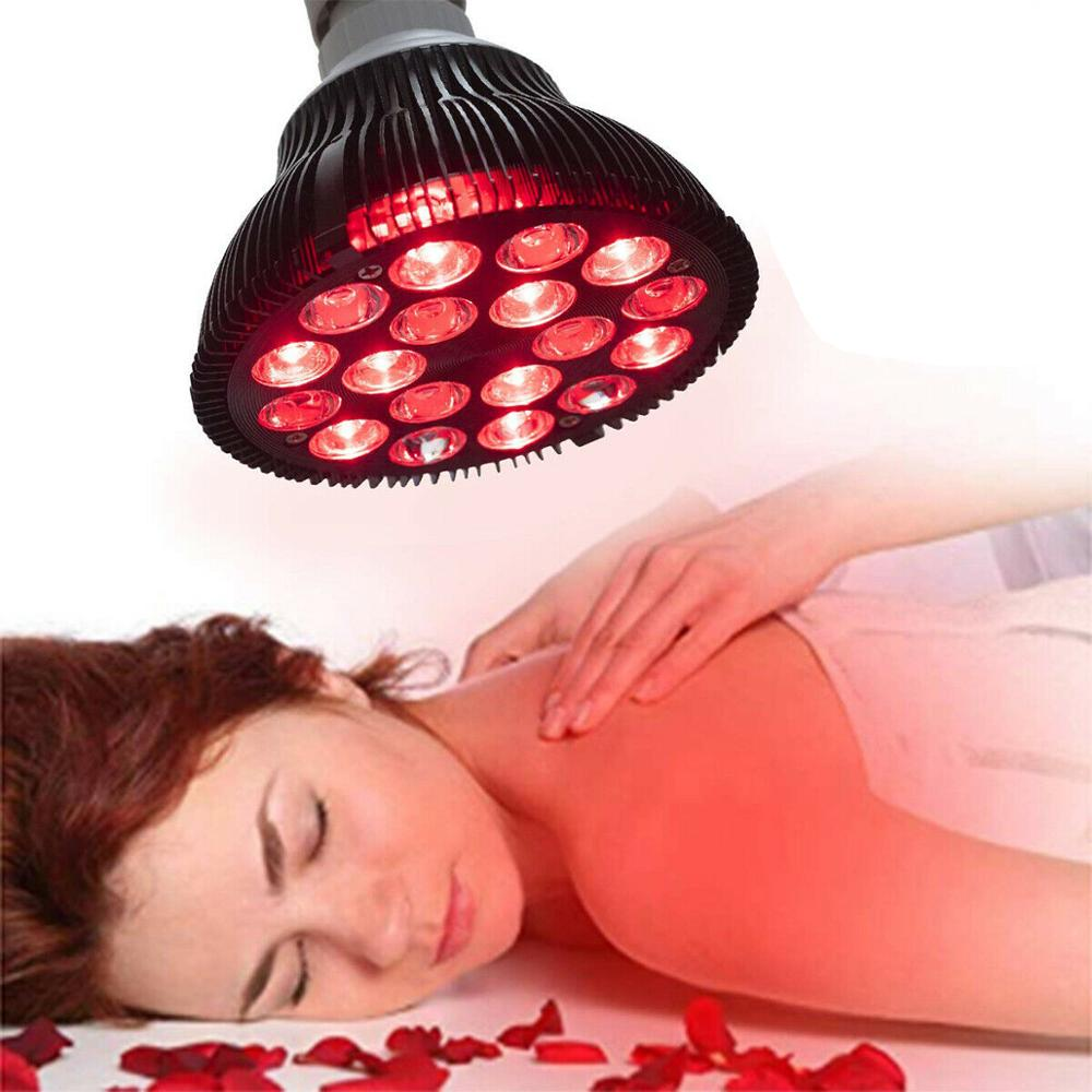 Red Light Therapy Lamp, 54W <font><b>18</b></font> LED Infrared Light Wrinkle Removel Therapy Device, 660nm Red 850nm Infrared Red Light Bulb image