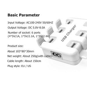 Image 3 - Tüm akıllı telefonlar için Pad 5 V/8A 6 USB bağlantı noktası çoklu duvar akıllı şarj cihazı hızlı şarj adaptörü ab/abd Plug telefon USB şarj cihazı