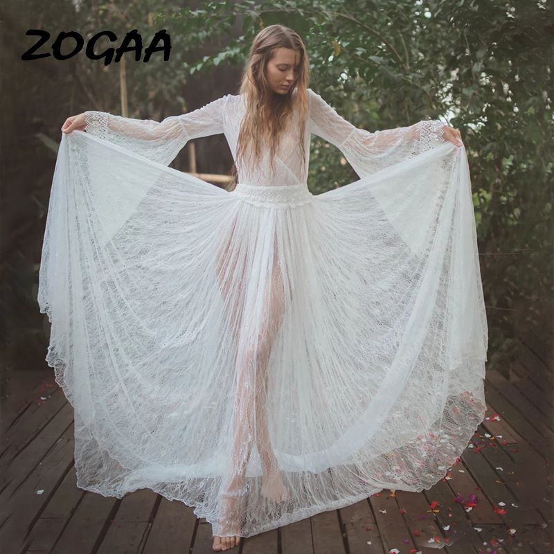 ZOGAA 2020 Spring Summer New <font><b>Transparent</b></font> Lace Flare Long-sleeved V-neck <font><b>Backless</b></font> <font><b>Sexy</b></font> <font><b>Dress</b></font> image