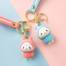 Cute Rabbit Doll Keychain Pendant Creative Personality Car Chain Ring A Pair Of Simple Couple Kawaii Bag Ornaments Girl Gift
