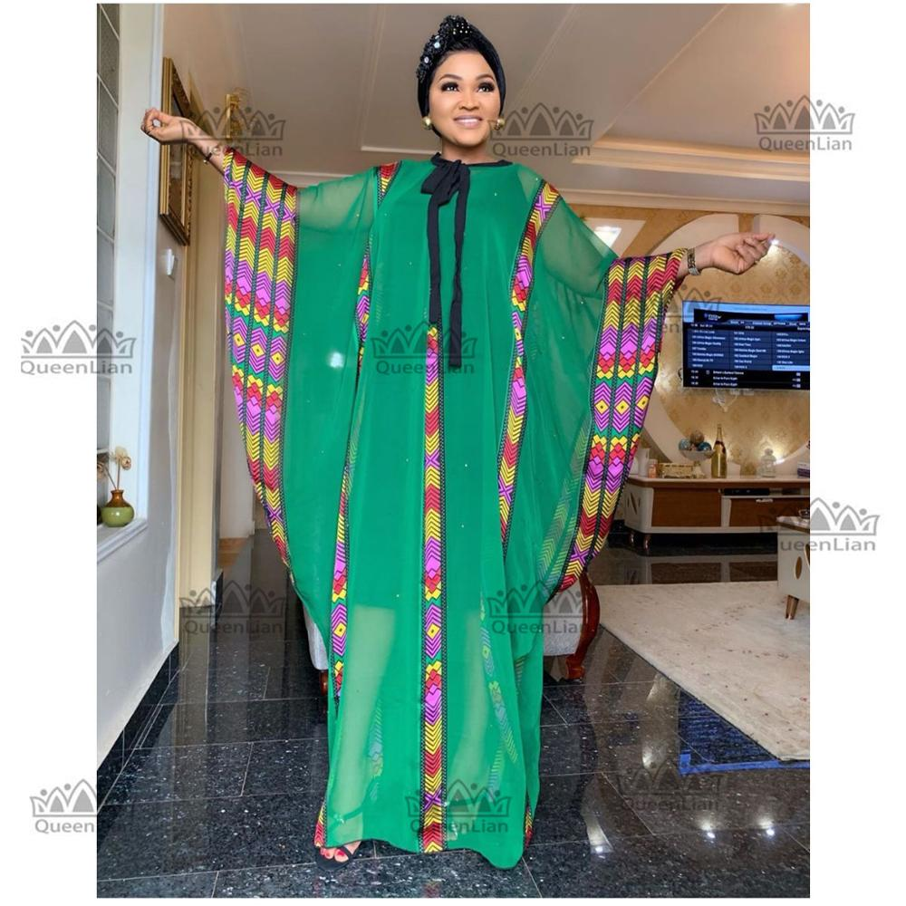 New Fashion Super Size African Chiffon  Loose Long Dashiki Traditional Party Dress For Lady  (CPXF#)