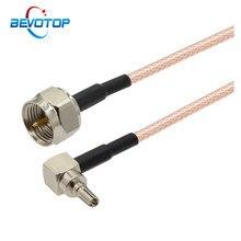 2 pçs/lote f macho para crc9 macho plug conector rf cabo coaxial crc9 f montagem rg316 jumper trança 3g cabo de extensão antena