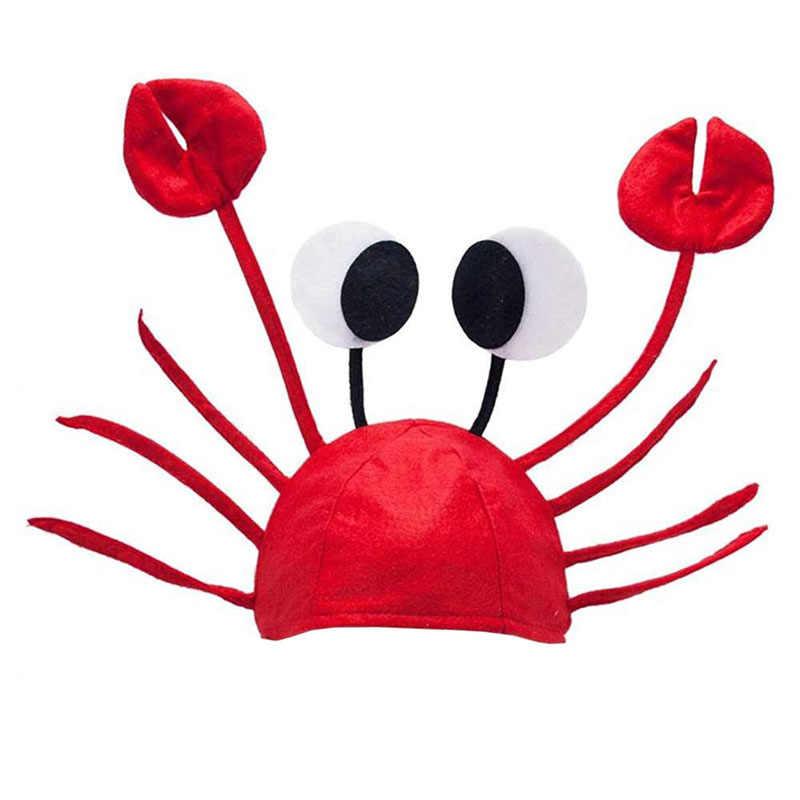 ליל כל הקדושים חג המולד חמוד אדום לובסטר סרטן כובע מפלגה מבוגרים תלבושות כובע מתנה LX9E